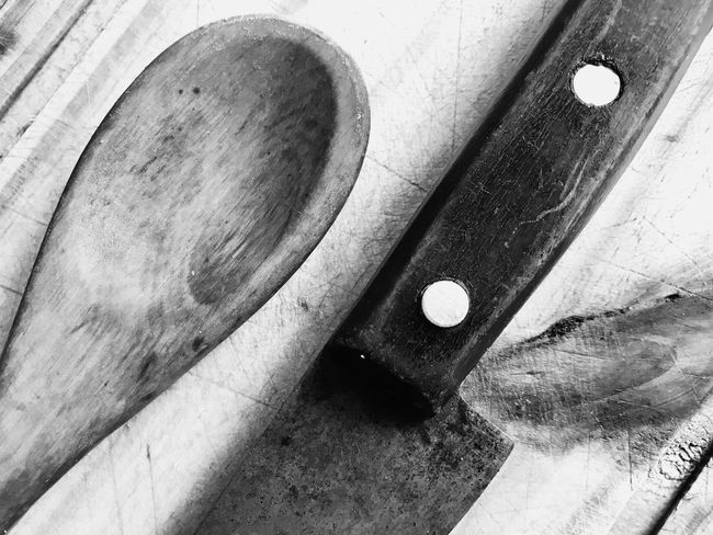Knife and spoon Wood Spoon Kitchen Knife Knife Close-up No People High Angle View Indoors  Still Life Wood - Material Table Art And Craft Shape