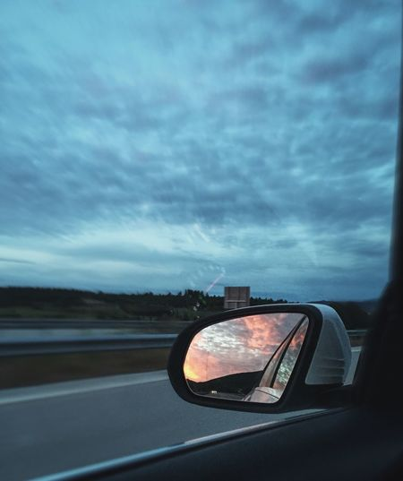 Car Travel Mode Of Transport Travel Destinations Sky Cloud - Sky Reflection Vacations Dramatic Sky Car Point Of View Cloudscape Blue Journey EyeEmNewHere