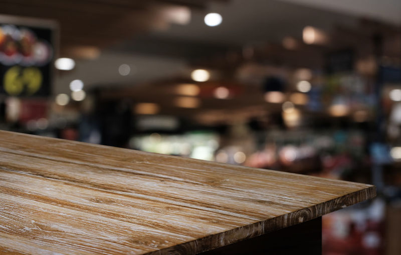 Close-up of empty table in restaurant