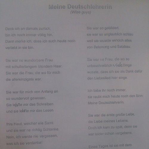 Süßtes Lied 🎶 🎶 🎶 🎶 🎶 🎶 von Wiseguys Omg MeineDeutschlehrerin