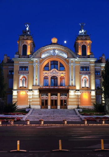Facade of church at night