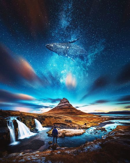 Digital composite image of man standing on mountain with whale in sky