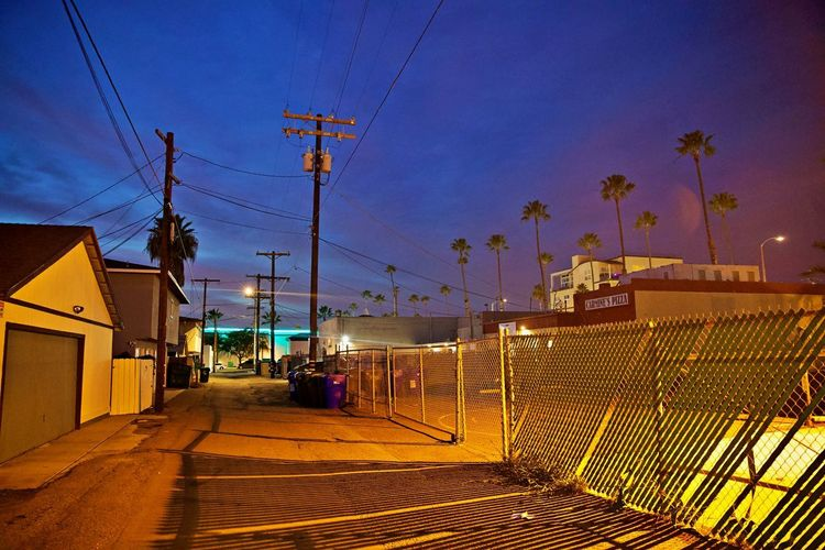Architecture Built Structure Building Exterior Street City Illuminated Building Night Street Light Fence Barrier No People Boundary Residential District Outdoors California Night Moody Atmosphere