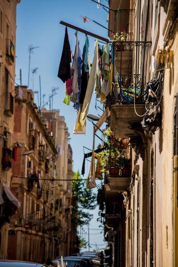 Architecture Balcony Barcelona Barceloneta Dry Hanging Latin Laundry Lifestyles Local Local Feeling Mediterranean  Narrow Narrow Street Perspective Perspectives Sky SPAIN Street Street Photography Streetphotography