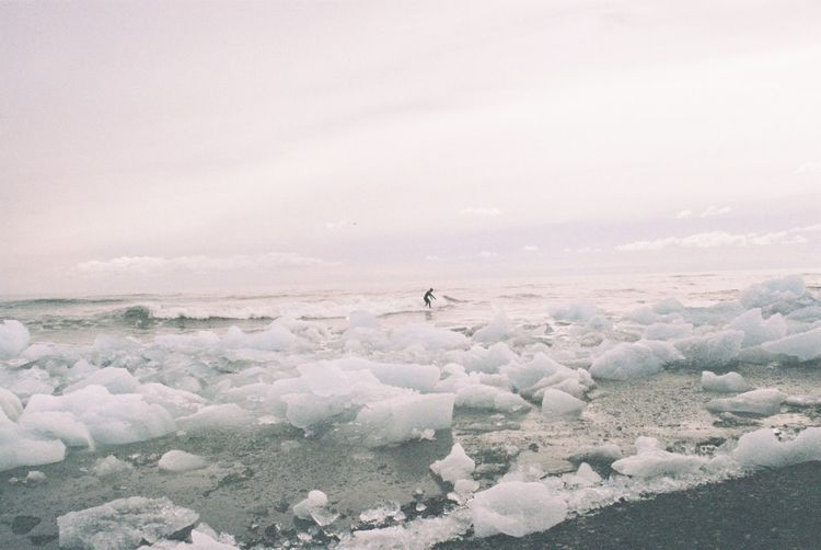 Sea Beauty In Nature Sky Scenics Cold Temperature Beach Analog Freshness Fresh On Eyeem  Filmcamera Canonae1 The Week On Eyem Surf Surfing Ice Iceland Landscape The Great Outdoors - 2017 EyeEm Awards Lost In The Landscape