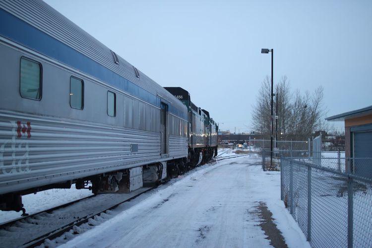🚈 Canada Snow Covered Rail Winter Snow Train Station Train VIA Rail