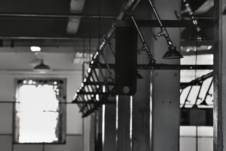 Metal railing hanging on staircase