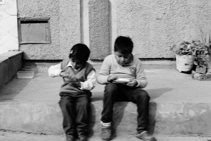 Two People Boys Care Child Full Length Front View Outdoors Consoling Charity And Relief Work City Day People Togetherness Education Occupation Adult Blackandwhite Beautifully Organized Life Peace Nature Sky India Delhi Beauty In Nature Adapted To The City Carnival Crowds And Details Welcome To Black