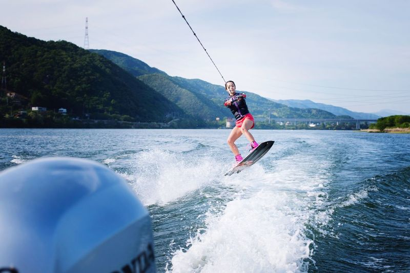 Outdoors Watersports Wake Wakeboarding Water Reflections With Friends Photography Professional Relaxing Holiday