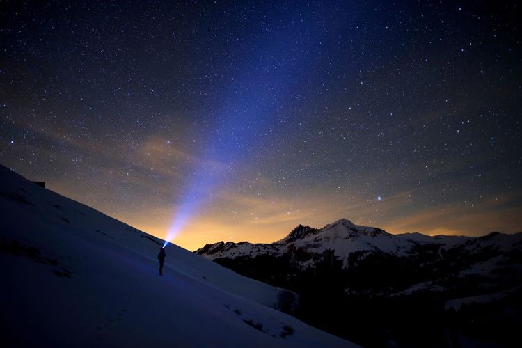 Mountain Night Snow Beauty In Nature Winter Scenics Star - Space Mountain Range Cold Temperature Travel Destinations Nature Tranquility Outdoors Tranquil Scene Adventure Astronomy No People Sky Milky Way