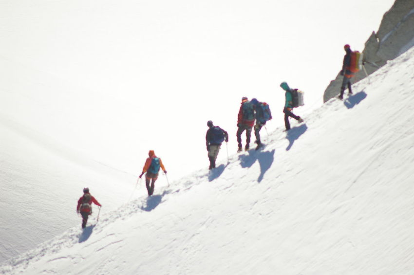 Cold Glacier Hiking Montblanc Mountains Nature Outdoors Snow Team White Color Winter Camp