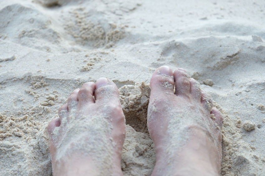 barefoot Beach Body Part Close-up Day High Angle View Human Body Part Human Foot Human Leg Human Toe Land Low Section Nature One Person Outdoors Personal Perspective Real People Sand Sea Selective Focus Water