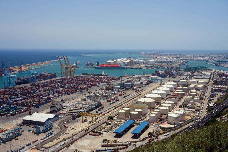 High angle view of harbor against clear sky