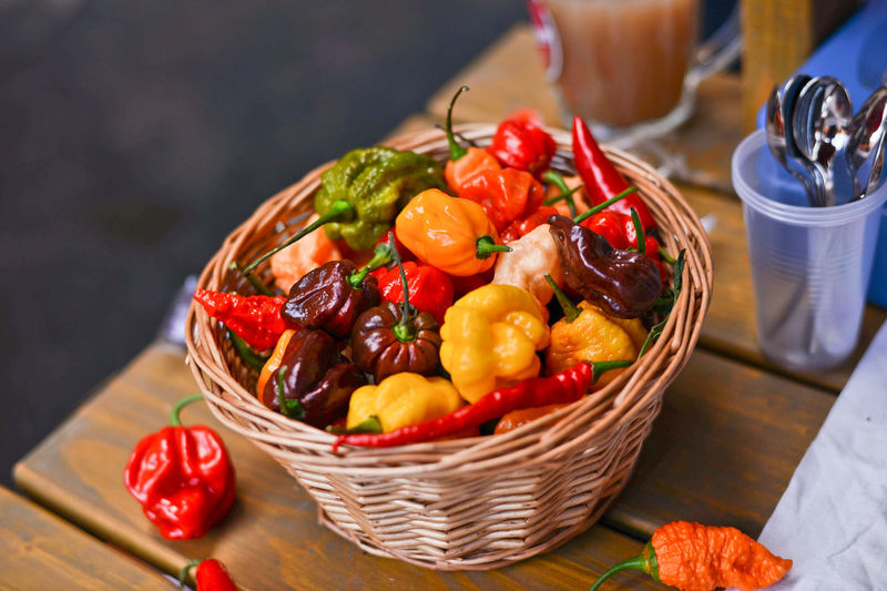 Vegetables In Basket On Table