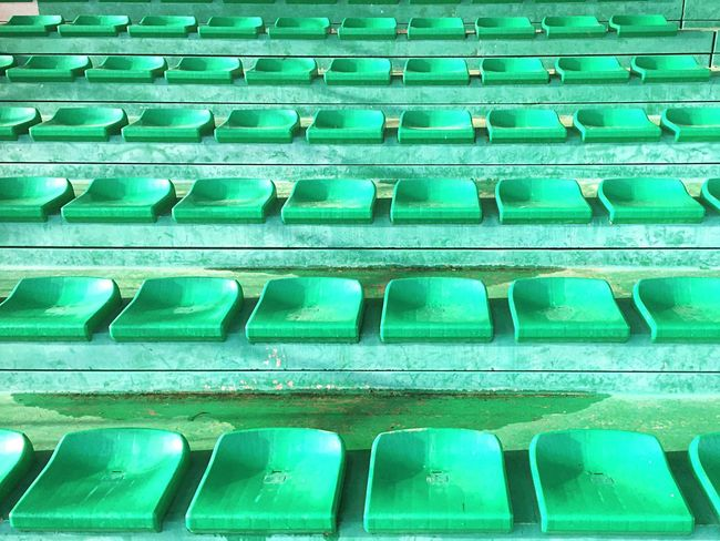 Just after the Football Fever ! No People Patterns Seats Green Color Green The Color Of Sport