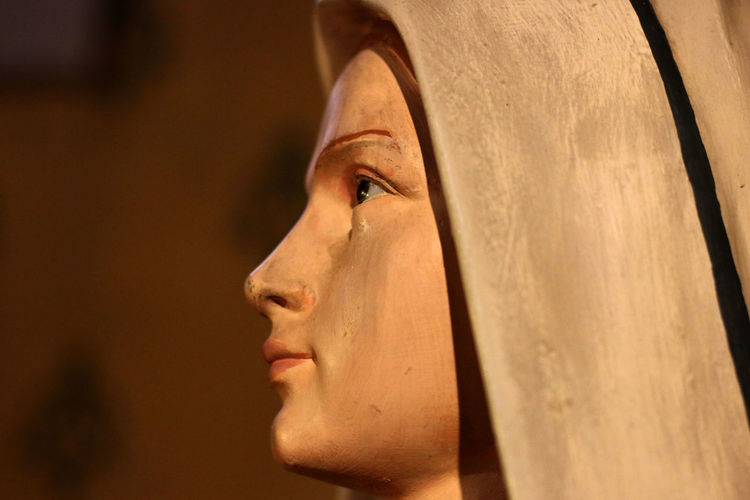 Catholic Contemplation Face Part Of Profile Profile Statue Selective Focus Statue