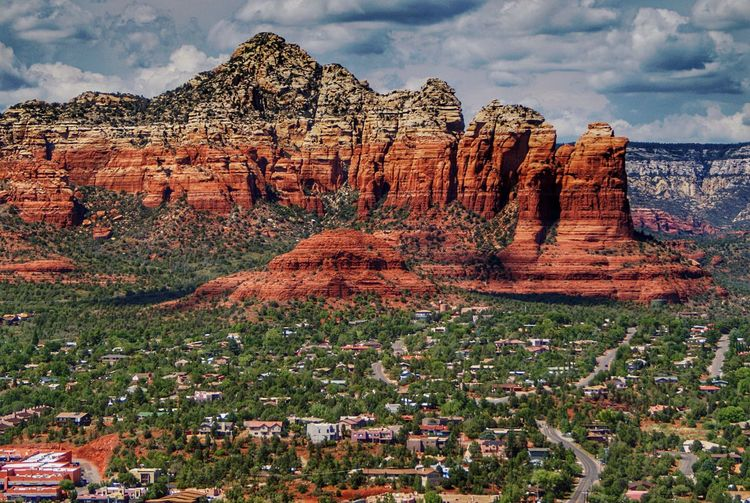 Red Rocks In Sedona Against Cloudy Sky