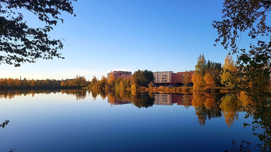 Reflection of trees and buildings in lake against clear blue sky