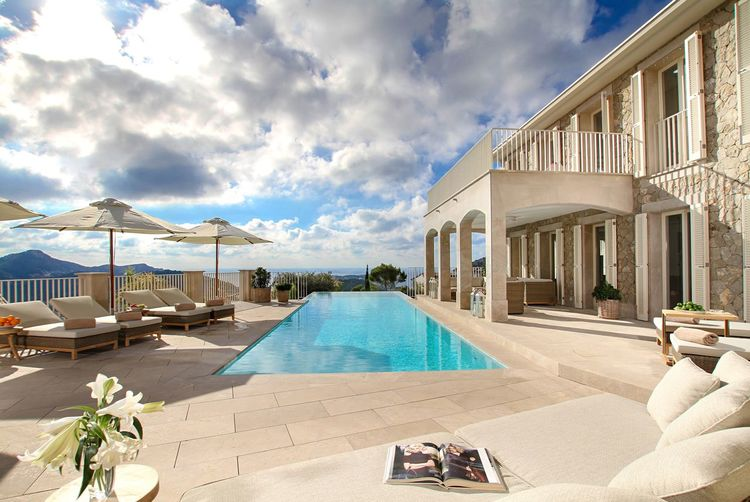 Mallorca villa Real Estate Property Mallorca Cloud - Sky Water Sky Nature Beach Architecture Land Built Structure Day Sunlight Sea Tourist Resort Building Exterior Sand Lounge Chair No People Chair Pool Swimming Pool Vacations