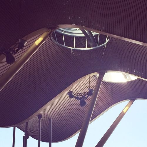 Low Angle View Illuminated Lookingup Structure Built Structure Building Exterior Futuristic Modern Architecture No People Architecture Close-up Airport Urban Geometry Urban Architecture Architectural Feature