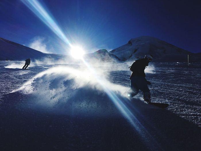 Snowboarding in