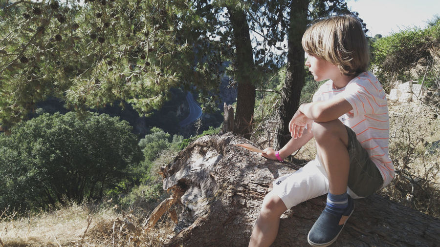 Side view of boy sitting on tree trunk