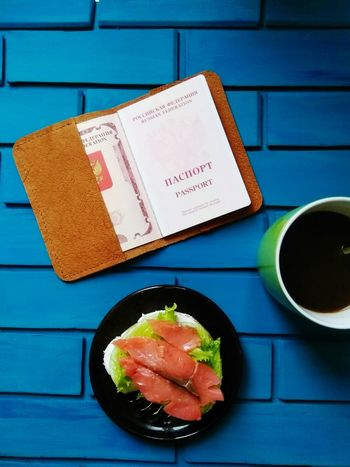 Traveling Passport Handmade Leather Craft Coffee Fish No People Blue Food Sandwich Freshness