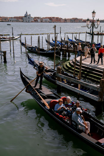 Venice City Venice Venice, Italy Veneto Gondola - Traditional Boat Water Nautical Vessel Occupation Moored Men Sky Gondolier Venice - Italy Canal Veneto Venetian Lagoon Gondola Mooring Post
