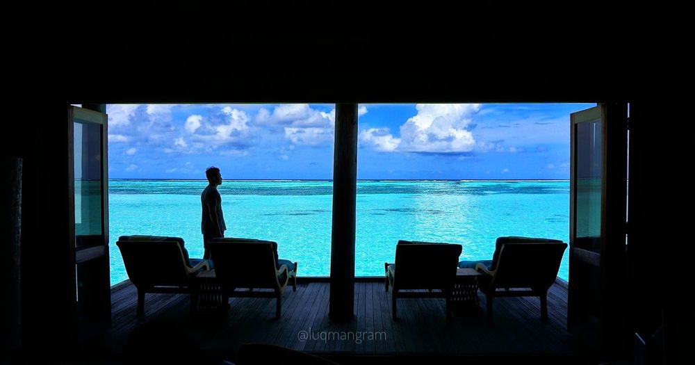 Sea Window Sky Chair Cloud - Sky Water Horizon Over Water Silhouette Looking Through Window Luxury Beach Scenics Beauty In Nature Vacations Umangram Gililankanfushi Maldives Travelgasm Traveladdict Only Men