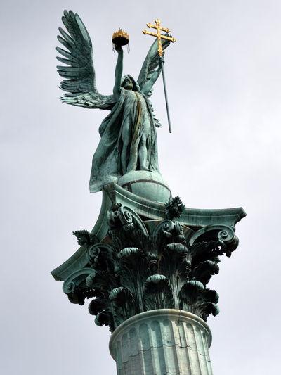 Art Budapest Hungary Low Angle View Sculpture Statue Tourism Travel Destinations