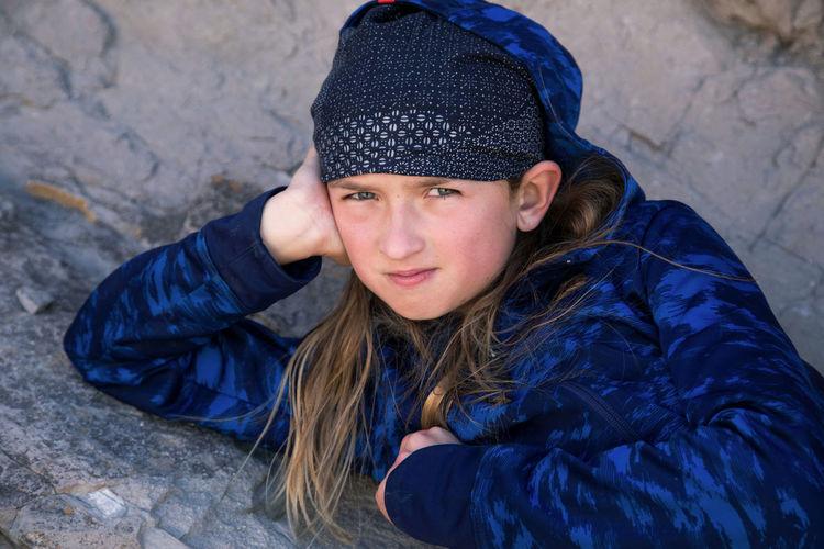 Portrait of teenage girl in snow
