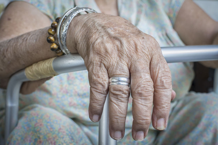 Midsection of senior woman with hands