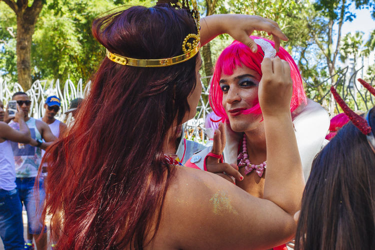 Carnival Carnival Spirit Casual Clothing Colors Of Carnival Friendship Front View Fun Happiness Happiness Head And Shoulders Joy Of Life Leisure Activity Lifestyles Looking At Camera Muquiranas Party Time Person Pink Wig Portrait Red Hair Salvador Bahia Smiling Young Adult