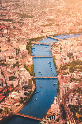 High angle view of building in city with river thames
