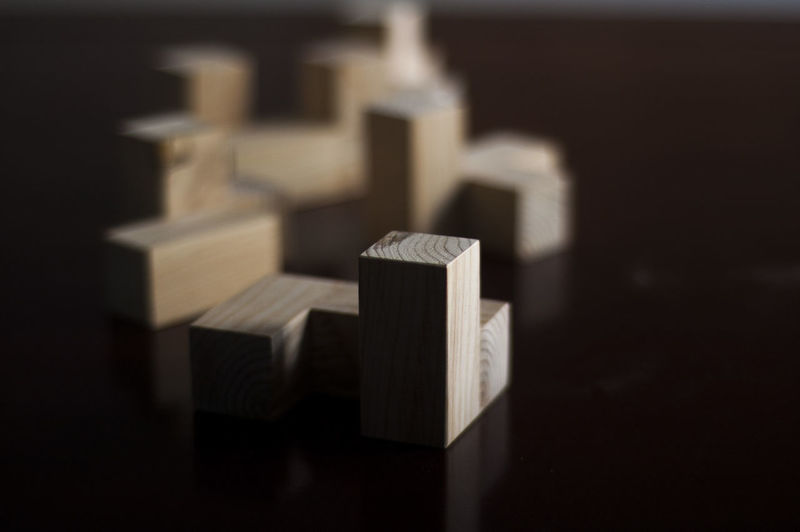 Close-Up Of Wooden Toy Blocks On Table