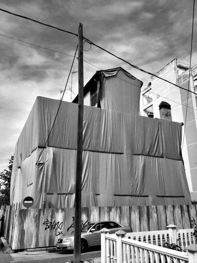 Architecture Building Building Exterior Built Structure Cable Clothesline Clothing Cloud - Sky Day Drying Hanging Laundry Low Angle View Mode Of Transportation Nature No People Outdoors Rope Sailboat Sky Sunlight