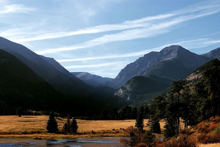 Scenic view of mountains at rocky mountain national park against sky