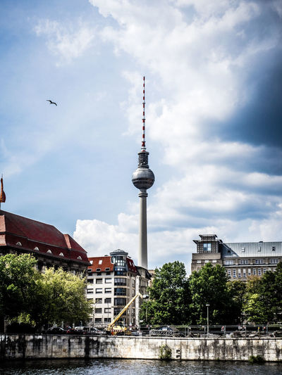 Berlin TV Tower Cityscape Fernsehturm Fernsehturm Berlin  TV Tower Animal Themes Architecture Building Building Exterior Built Structure City Cloud - Sky Clouds Global Communications Nature No People Outdoors Plant Sky Spire  Tall - High Tourism Tower Travel Travel Destinations Tree