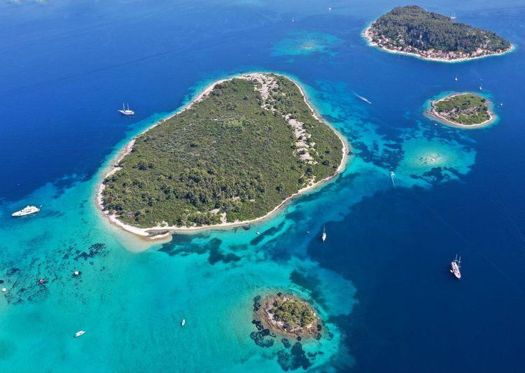 High angle view of blue sea island