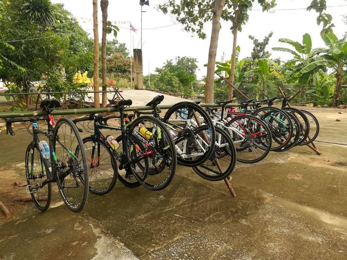 Bicycles parked on footpath in city