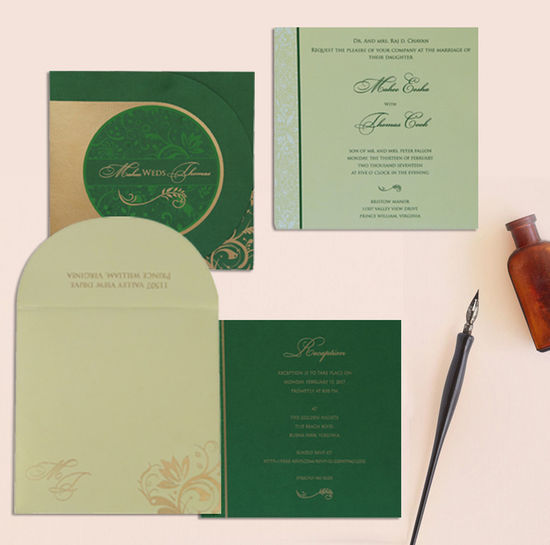 Give your wedding a special feel with our exclusive Green, Shimmer Paper, Islamic Wedding Cards - I-8264J Shop now: https://www.123weddingcards.com/card-detail/I-8264J Visit For more Muslim cards: https://www.123weddingcards.com/muslim-wedding-cards-invitations Islamic Wedding Cards Islamic Wedding Invitations Muslim Slik Screen Invitations Muslim Wedding Invitations Paisley Wedding Invitations