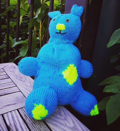 Knitted Frankenbean Knitted  KNI Blue Close-up Green Color Toy Stuffed Toy Teddy Bear Extinct Colorful Toy Animal The Still Life Photographer - 2018 EyeEm Awards
