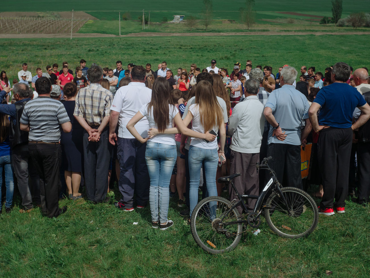 group of people, crowd, large group of people, real people, grass