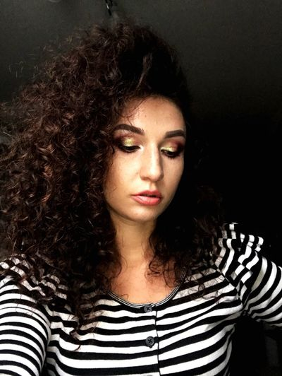 Thebestmakeup Striped Curly Hair Portrait Long Hair Beautiful Woman One Person Young Adult