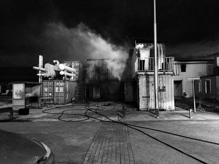 Firehouse Smoke - Physical Structure Building Exterior Built Structure Architecture No People Indoors  Day Sky Scary Strange Blackandwhite Photography Black And White Photography