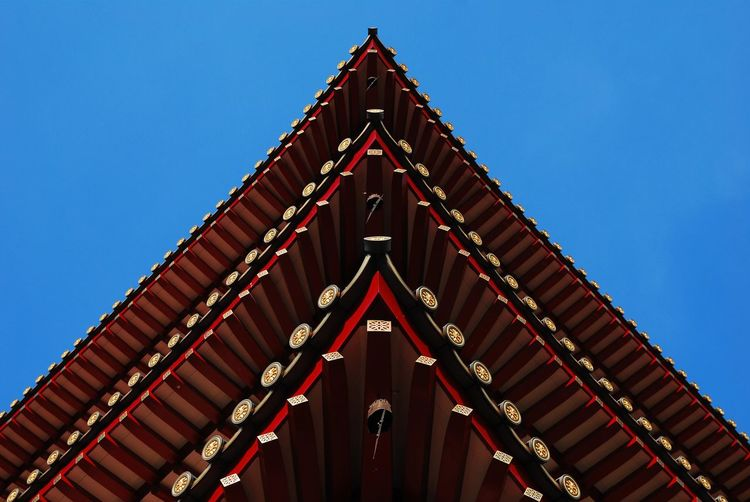 Bell Blue Sky Chinese Design Details Ornate Religion Roof Symmetry Temple