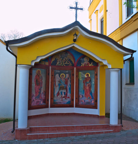 Small chapel with icons in Monastery Privina Glava, Sid, Serbia Christianity Hope Icons Monastery Architecture Belief Building Exterior Built Structure Day Fate  No People Ortodox Church Outdoors Religion Sky Temple Yellow