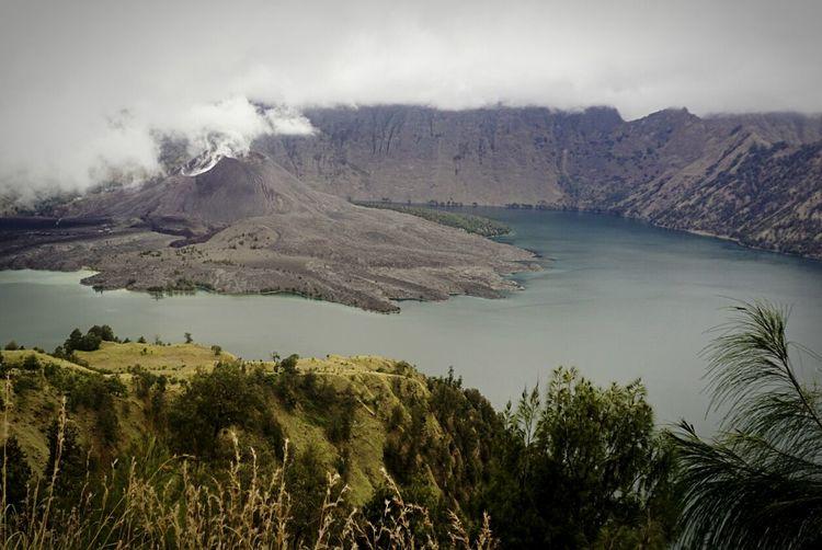 Volcanic mountain and lake at gunung rinjani national park