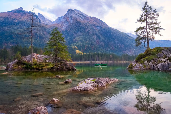 Hintersee Rowing Beauty In Nature Boat Day Lake Landscape Mountain Mountain Range Nature No People Outdoors Reflection Rock - Object Scenics Sky Tranquil Scene Tranquility Tree Water