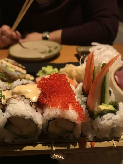 High angle view of sushi served on table